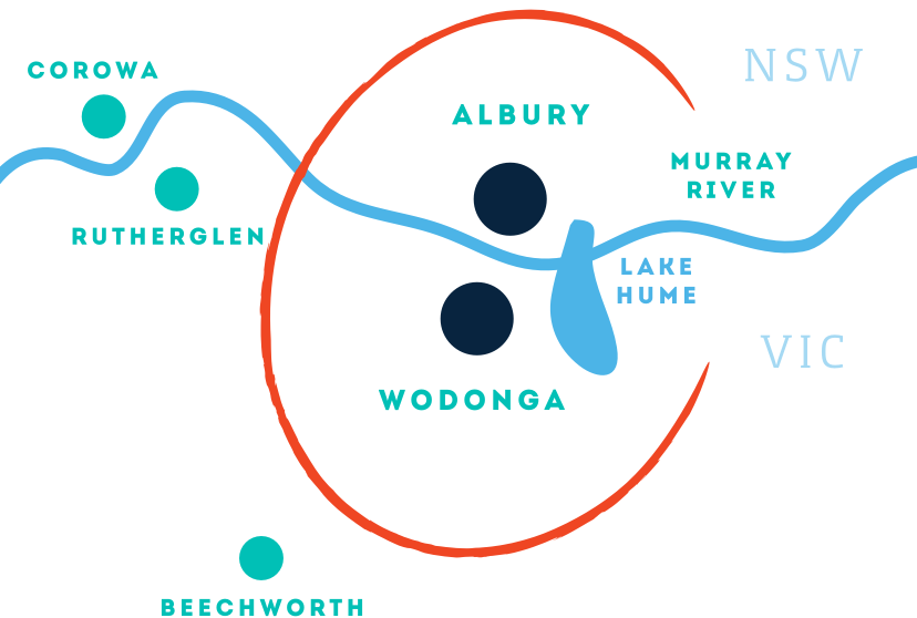 Albury Wodonga Region Map